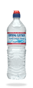 Top Mineral Water Label Logo: Crystal Geyser
